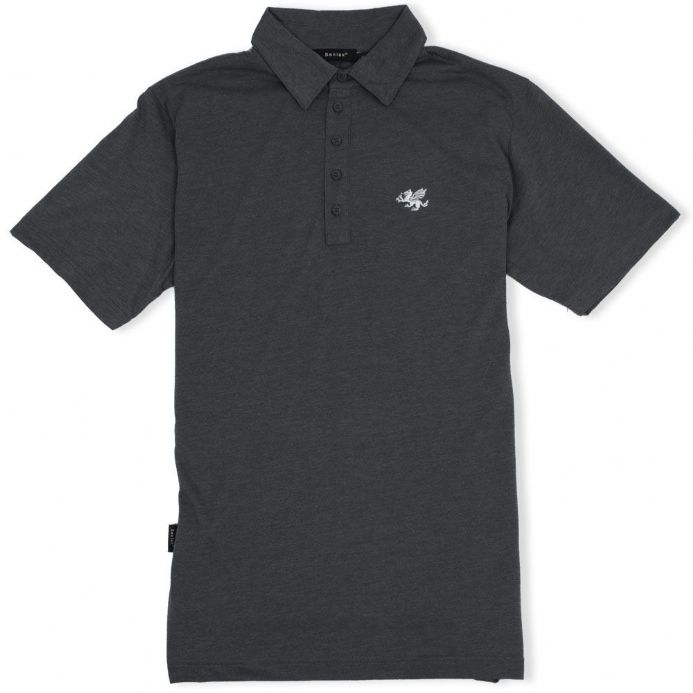 Anglo-Saxon White Dragon 5 Button Jersey Polo Shirt - Dark Grey Marl
